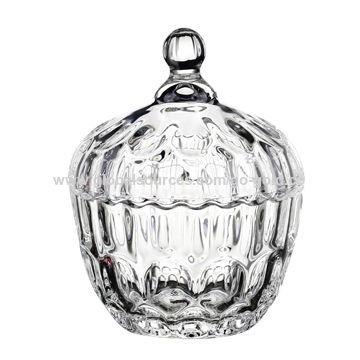 Βάζο Γυάλινο Ανάγλυφο Με Καπάκι 10cm home   κρυσταλλα  διακοσμηση   κρύσταλλα