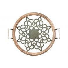 Δίσκος Σερβιρίσματος Στρογγυλός Ξύλο Με Γυαλί 43,5cm Trimar