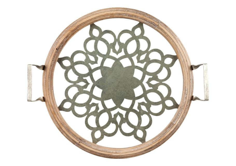 Δίσκος Σερβιρίσματος Στρογγυλός Ξύλο Με Γυαλί 43,5cm Trimar home   ειδη σερβιρισματος   δίσκοι