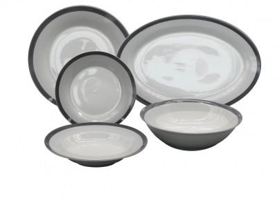 Σερβίτσιο Φαγητού Πορσελάνης Ριγέ Γκρί 20τμχ. home   ειδη σερβιρισματος   πιάτα   σερβίτσια