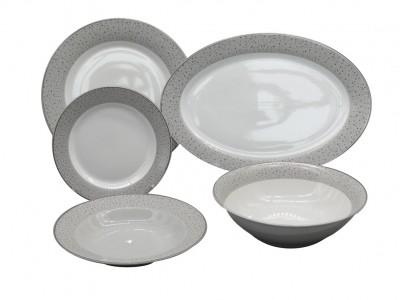 Σερβίτσιο Φαγητού Πορσελάνης Πουά Γκρί Με Πλατίνα 20τμχ. home   ειδη σερβιρισματος   πιάτα   σερβίτσια
