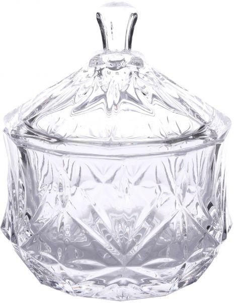 Βάζο Γυάλινο Ανάγλυφο Με Καπάκι 9cm home   κρυσταλλα  διακοσμηση