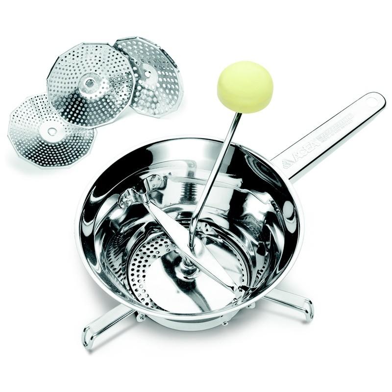 Μύλος Λαχανικών Ανοξείδωτος 24cm Με 3 Δίσκους Ghidini home   εργαλεια κουζινας   εργαλεία μαγειρικής