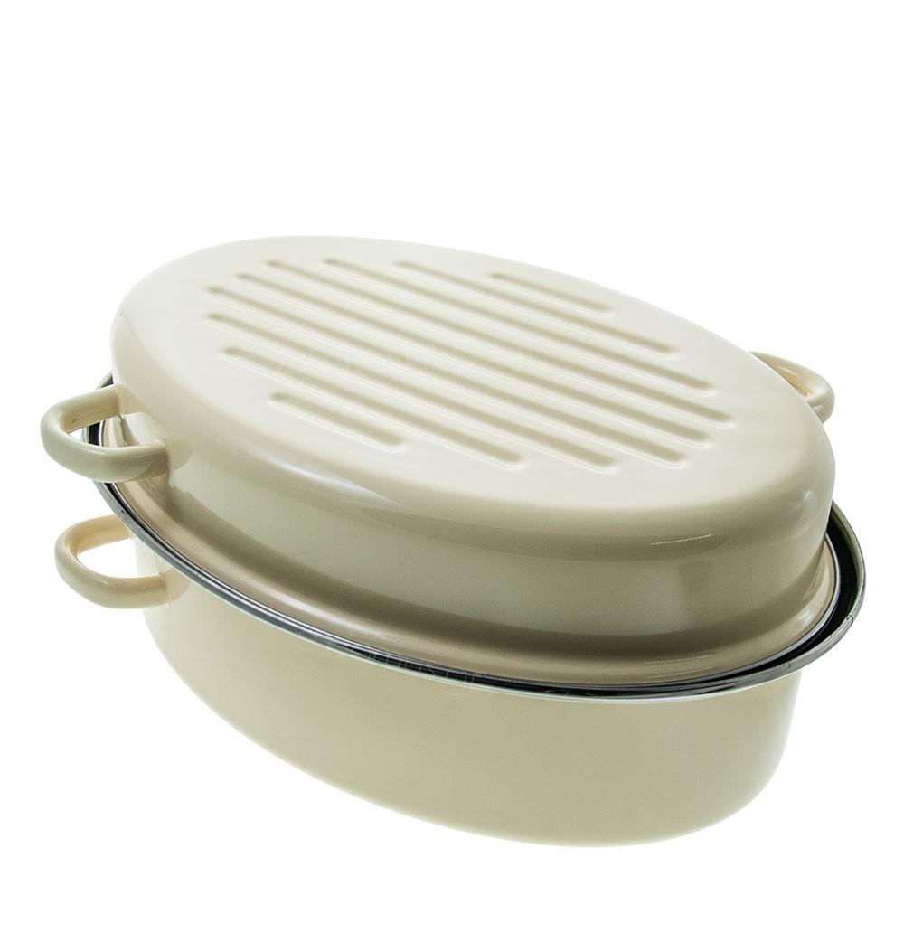 Γάστρα Εμαγιέ Οβαλ Cream Enart 40cm home   σκευη μαγειρικης   γάστρες
