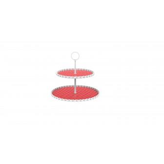 Πιατέλα 2 Επιπέδων Μελαμίνης Dotty Κόκκινη Zak Design