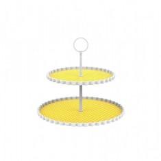 Πιατέλα 2 Επιπέδων Μελαμίνης Dotty Κίτρινη Zak Design