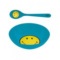 Πιάτο Βαθύ Και Κουτάλι Zak Designs Μελαμίνης Smiley Μπλε