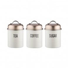 Δοχείο Μεταλλικό Vintage Copper Σετ 3Τμχ Τσάι - Καφέ - Ζάχαρη Typhoon