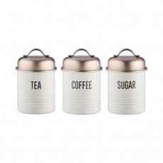 Δοχείο Μεταλλικό Vintage Copper Σετ 3Τμχ Τσάι - Καφέ - Ζάχαρη Typhoon home   ειδη cafe τσαϊ   δοχεία καφε   ζάχαρης