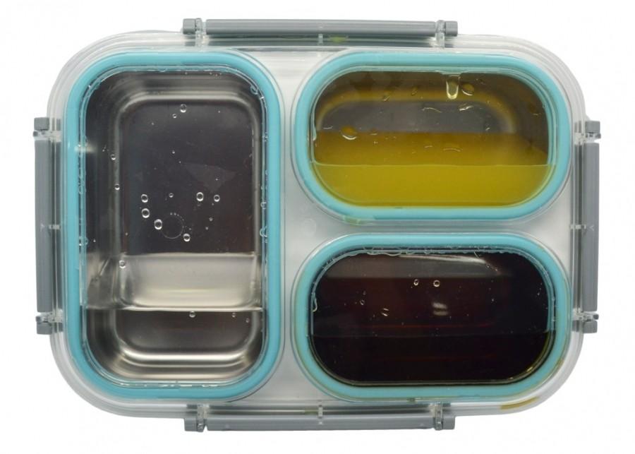 Φαγητοδοχείο 3 Θέσεων Ανοξείδωτο Γαλάζιο Με Αεροστεγές κλείσιμο home   αξεσουαρ κουζινας   φαγητοδοχεία   δοχεία τροφίμων