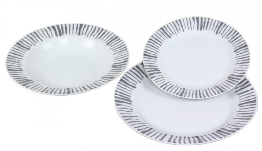 Σερβίτσιο Φαγητού Γκρι Γραμμές 18 Τεμαχίων Στρογγυλό home   ειδη σερβιρισματος   πιάτα   σερβίτσια