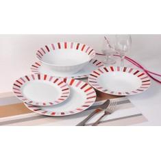 Σερβίτσιο Φαγητού 20 Τεμαχίων Στρογγυλό Κόκκινες Ρίγες