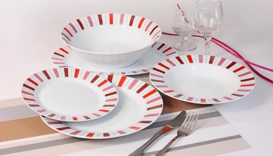 Σερβίτσιο Φαγητού 20 Τεμαχίων Στρογγυλό Κόκκινες Ρίγες home   ειδη σερβιρισματος   πιάτα   σερβίτσια