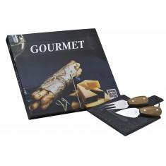Ξύλινο Πλατό Τυριών Με 3 Μαχαίρια Τυριού Βιβλίο Gourmet Vol 2