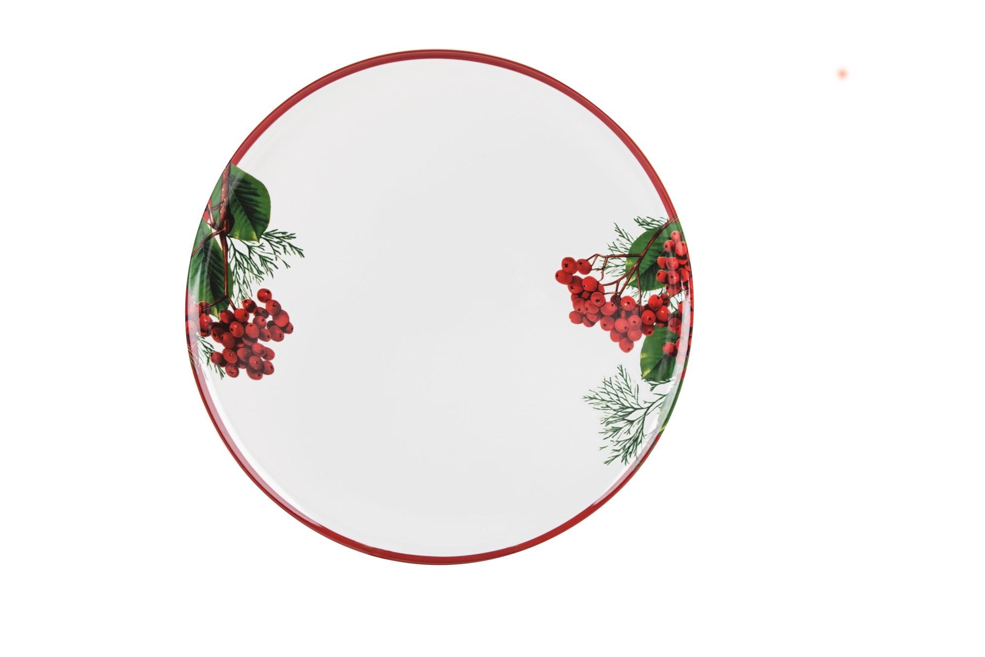 Πιατέλα Στρογγυλή Red Berry 34cm Ionia home   χριστουγεννιατικα