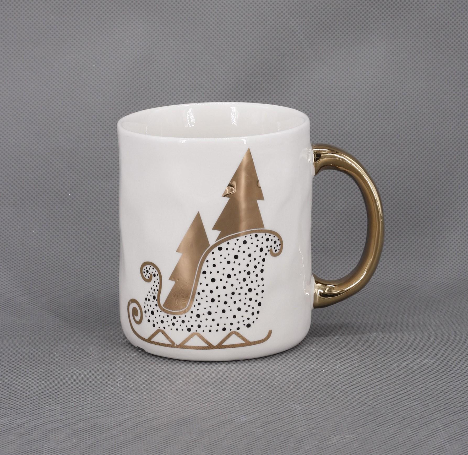 Κούπα Xmas Gold Έλκηθρο 600ml home   ειδη cafe τσαϊ   κούπες   φλυτζάνια