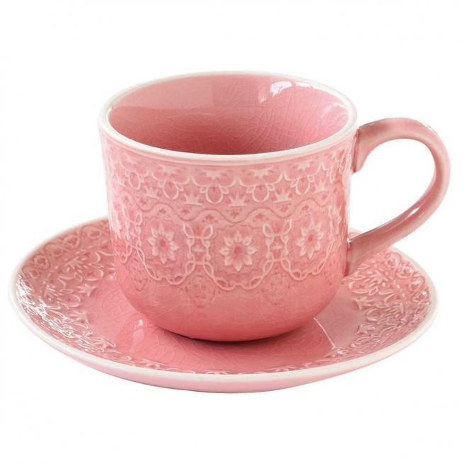 Φλιτζάνι Τσαγιού Stoneware Ambiente Pink 250ml home   ειδη cafe τσαϊ   κούπες   φλυτζάνια