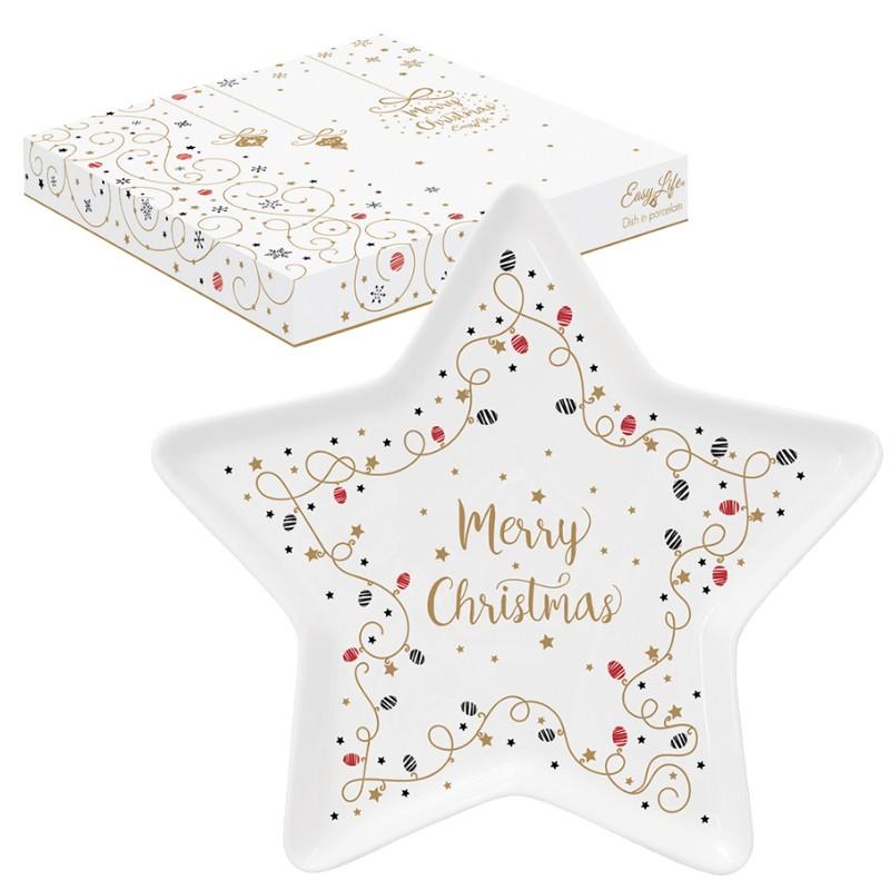 Πιατέλα Πορσελάνης Merry Christmas Star 19,5cm R2S home   ειδη σερβιρισματος   πιατέλες