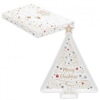 Πιατέλα Πορσελάνης Δέντρο Merry Christmas Star 21cm R2S