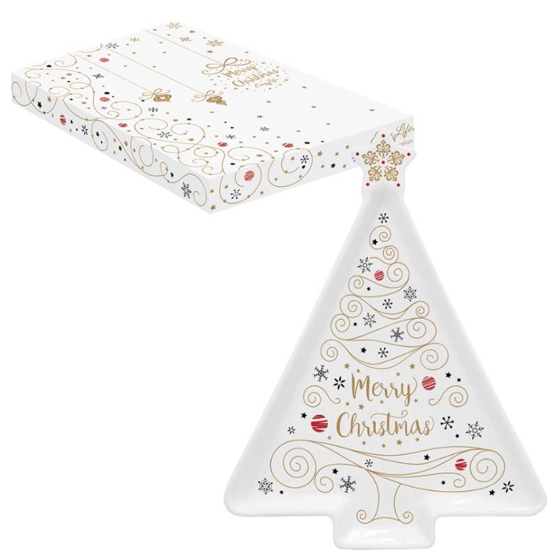 Πιατέλα Πορσελάνης Δέντρο Merry Christmas Star 21cm R2S home   ειδη σερβιρισματος   πιατέλες