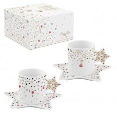 Φλιτζάνι Καφέ & Πιατάκι Πορσελάνης Merry Christmas Star 800ml R2S