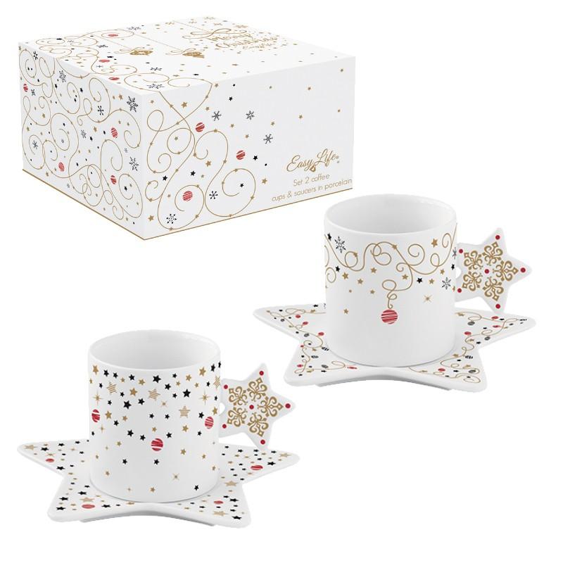 Φλιτζάνι Καφέ & Πιατάκι Σετ 2τμχ. Πορσελάνης Merry Christmas Star 80ml R2S home   ειδη cafe τσαϊ   κούπες   φλυτζάνια