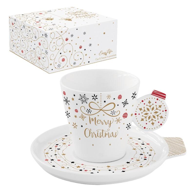 Φλιτζάνι Τσαγιού & Πιατάκι Πορσελάνης Merry Christmas Star 150ml home   ειδη cafe τσαϊ   κούπες   φλυτζάνια
