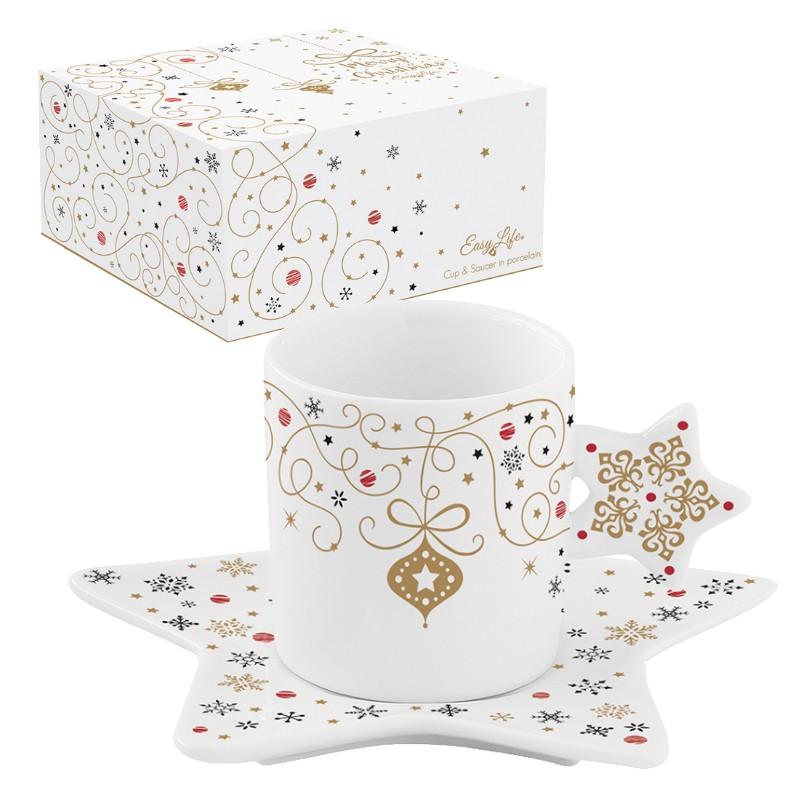 Φλιτζάνι Τσαγιού & Πιατάκι Πορσελάνης Merry Christmas Star 170ml home   ειδη cafe τσαϊ   κούπες   φλυτζάνια