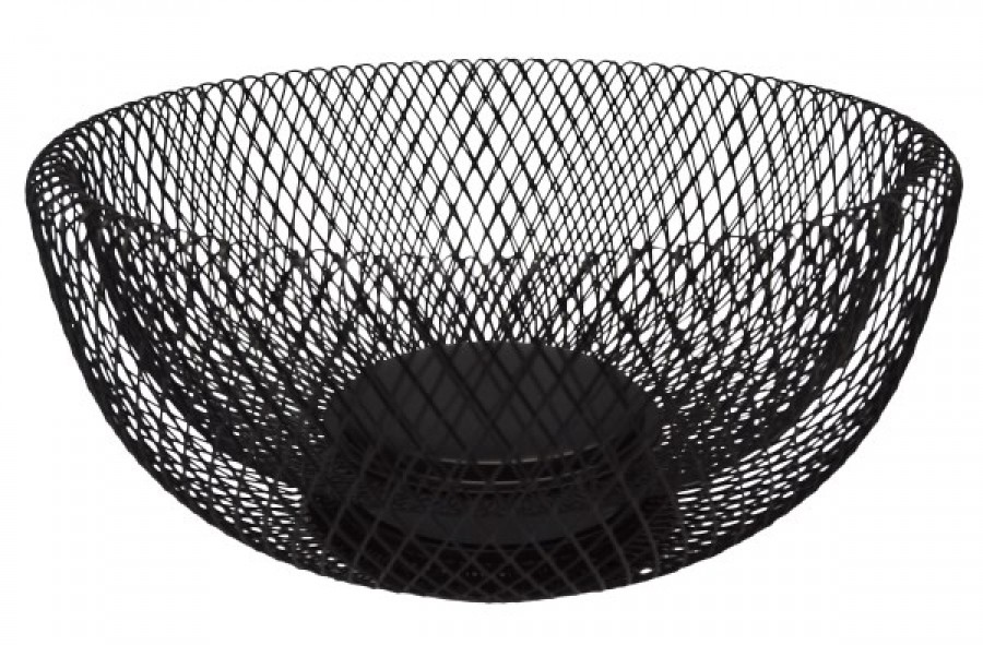 Φρουτιέρα Μεταλλική Στρογγυλή Μαύρη 24,5cm home   αξεσουαρ κουζινας   ψωμιέρες   φρουτιέρες   φρουτιέρες