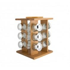 Σετ Μπαχαρικών 6 Θέσεων Ξύλινο Με Περιστρεφόμενη Βάση Natural Bamboo Marva Home