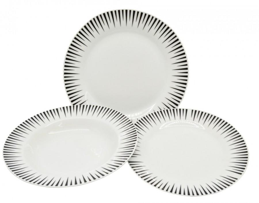 Σερβίτσιο Φαγητού Γραμμές Μαύρο 18 Τεμαχίων Στρογγυλό home   ειδη σερβιρισματος   πιάτα   σερβίτσια