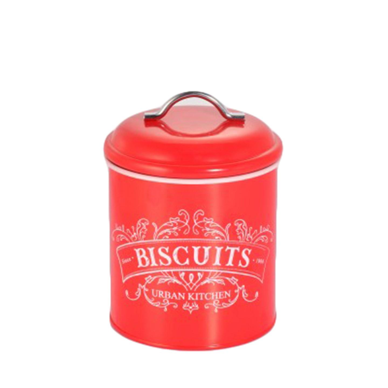 Μπισκοτιέρα Μεταλλική Retro Κόκκινη home   αξεσουαρ κουζινας   δοχεία τροφίμων   βάζα αποθήκευσης
