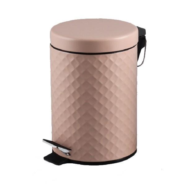 Πεντάλ Μεταλλικό 5lit Ανάγλυφο Στρογγυλό Ροζ home   ειδη μπανιου   πετάλ