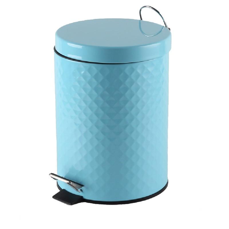 Πεντάλ Μεταλλικό 5lit Ανάγλυφο Στρογγυλό Γαλάζιο home   ειδη μπανιου   πετάλ