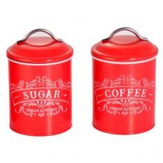 Δοχεία Σετ Καφέ-Ζάχαρη Μεταλλικά Retro Κόκκινο