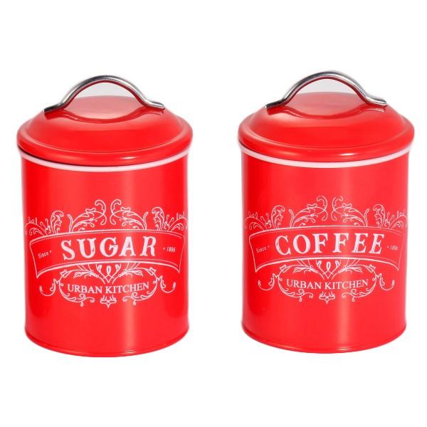 Δοχεία Σετ Καφέ-Ζάχαρη Μεταλλικά Retro Κόκκινο home   ειδη cafe τσαϊ   δοχεία καφε   ζάχαρης