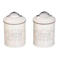 Δοχεία Σετ Καφέ-Ζάχαρη Μεταλλικά Retro Μπεζ