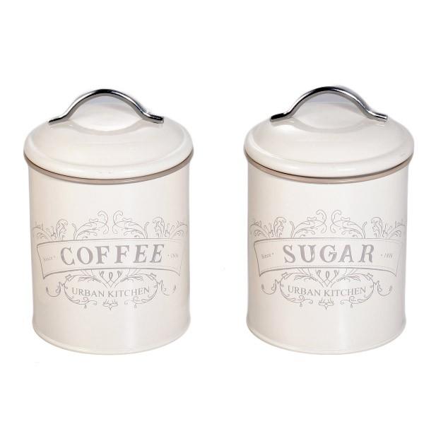 Δοχεία Σετ Καφέ-Ζάχαρη Μεταλλικά Retro Μπεζ home   ειδη cafe τσαϊ   δοχεία καφε   ζάχαρης