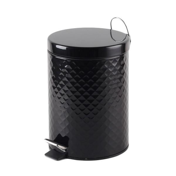 Πεντάλ Μεταλλικό 5lit Ανάγλυφο Στρογγυλό Μαύρο home   ειδη μπανιου   πετάλ