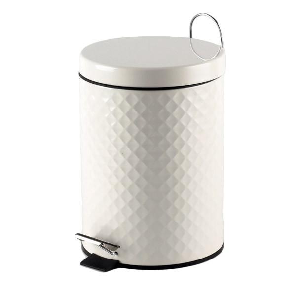 Πεντάλ Μεταλλικό 5lit Ανάγλυφο Στρογγυλό Λευκό home   ειδη μπανιου   πετάλ