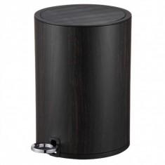 Πεντάλ Μεταλλικό 5lit Στρογγυλό Μαύρο Ξύλο Marva Home