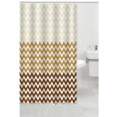 Κουρτίνα Μπάνιου Υφασμάτινη 180x200cm Waves Καφε