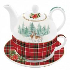 Τσαγιέρα & Φλιτζάνι Πορσελάνης Wintewr Forest tea For One R2S