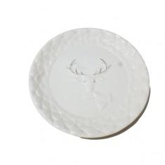 Πιατέλα Κεραμική Τάρανδος Λευκή 28cm