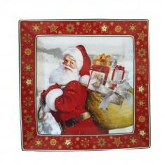 Πιατέλα Πορσελάνης Τετράγωνη Άγιος Βασίλης Μεγάλη