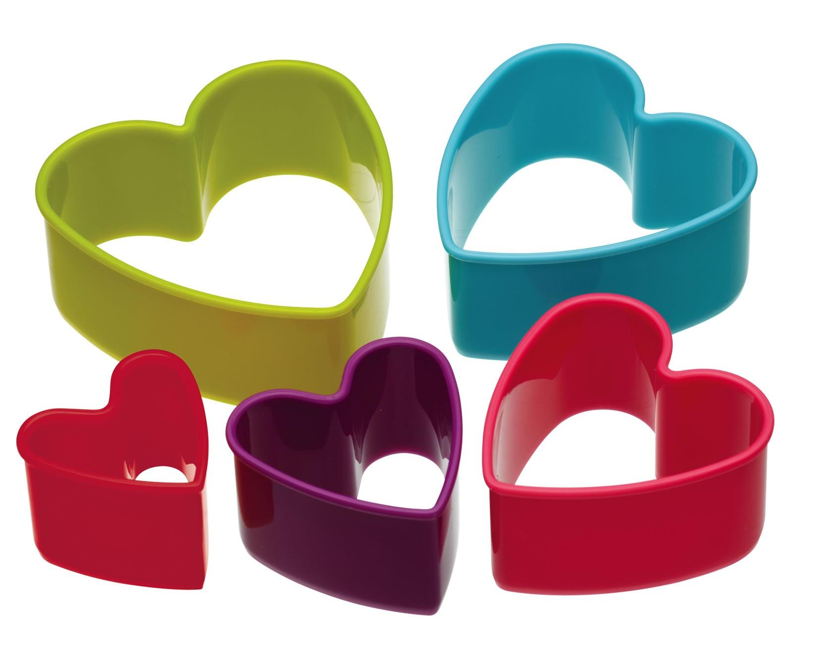 κουπ-πατ σετ 5 τεμάχια καρδιά colourworks by kitchencraft home   ζαχαροπλαστικη   κουπ   πατ