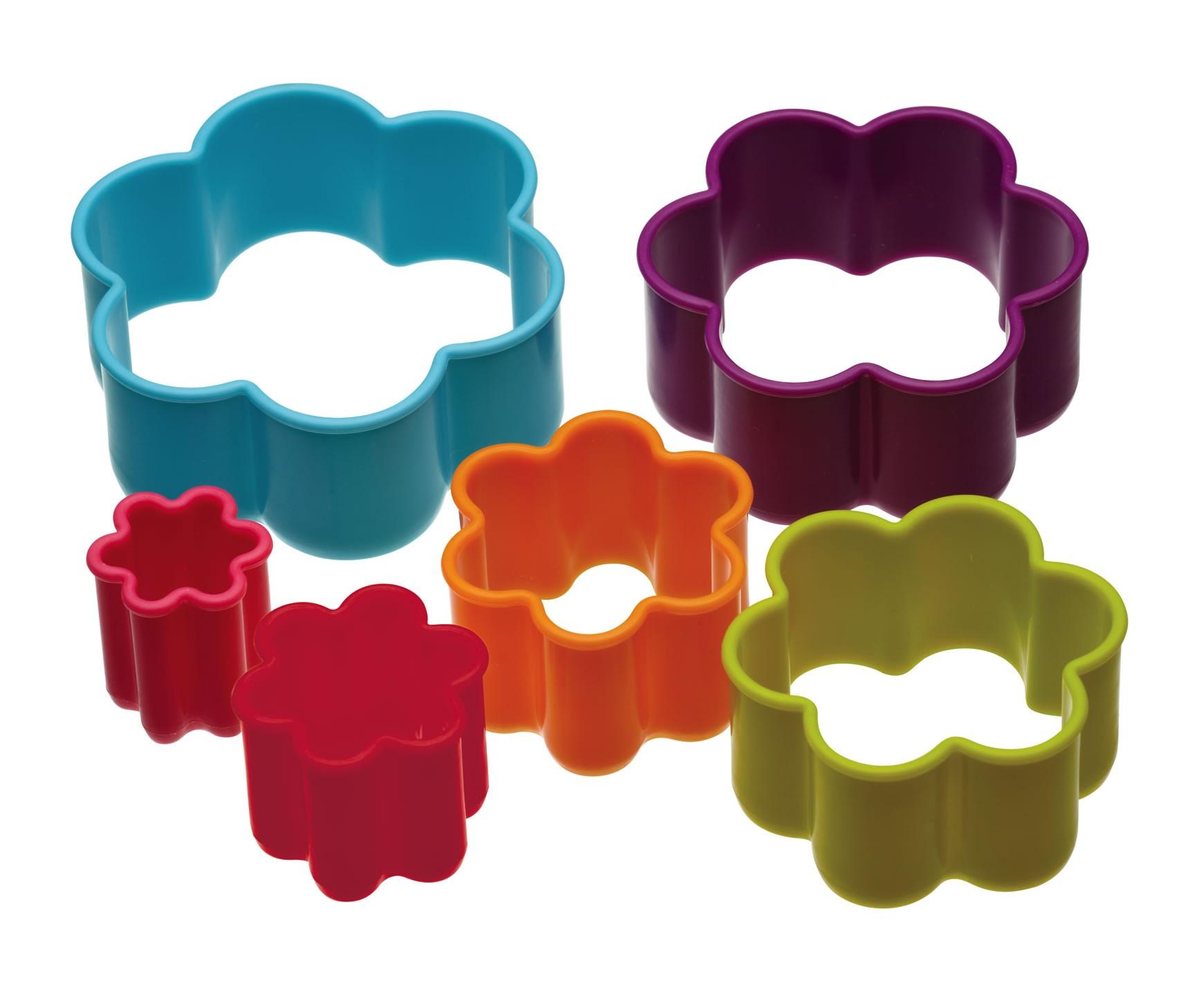 κουπ-πατ σετ 6 τεμάχια λουλούδια colourworks by kitchencraft home   ζαχαροπλαστικη   κουπ   πατ