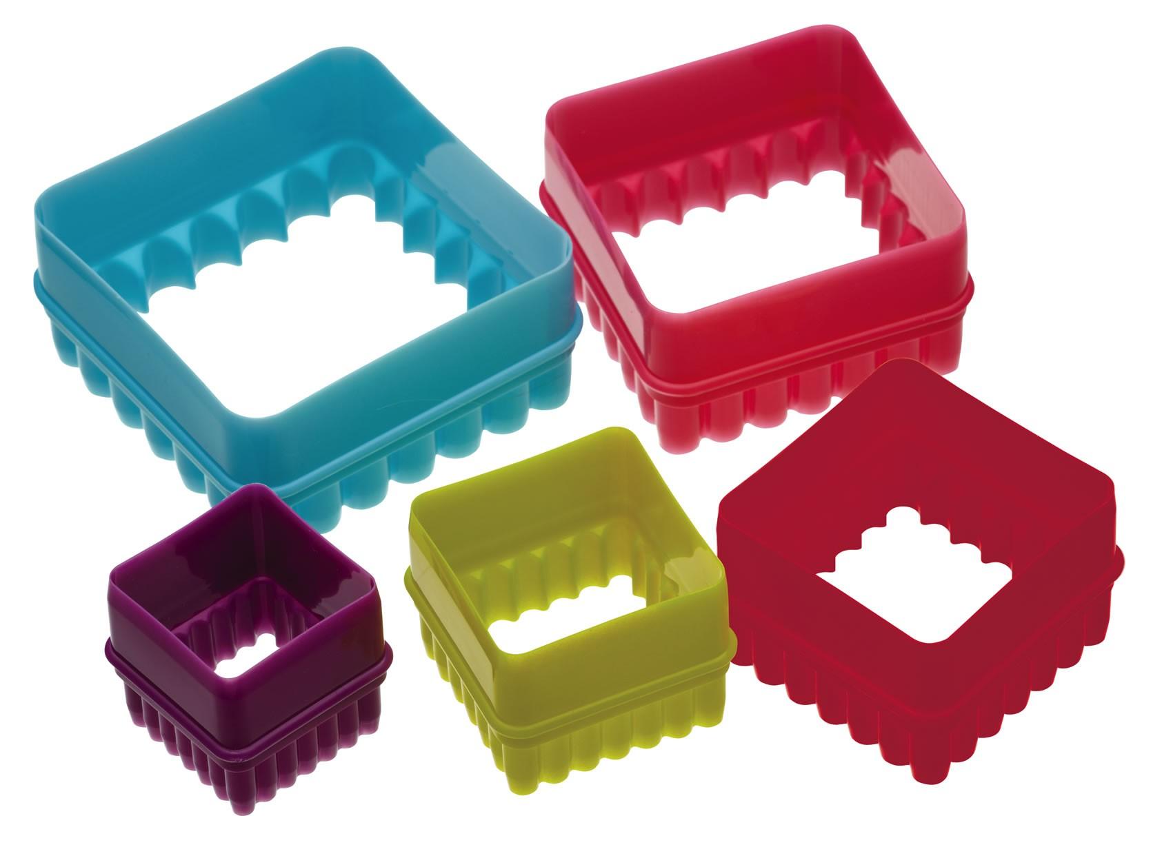 κουπ-πατ σετ 5 τεμάχια τετράγωνα colourworks by kitchencraft home   ζαχαροπλαστικη   κουπ   πατ