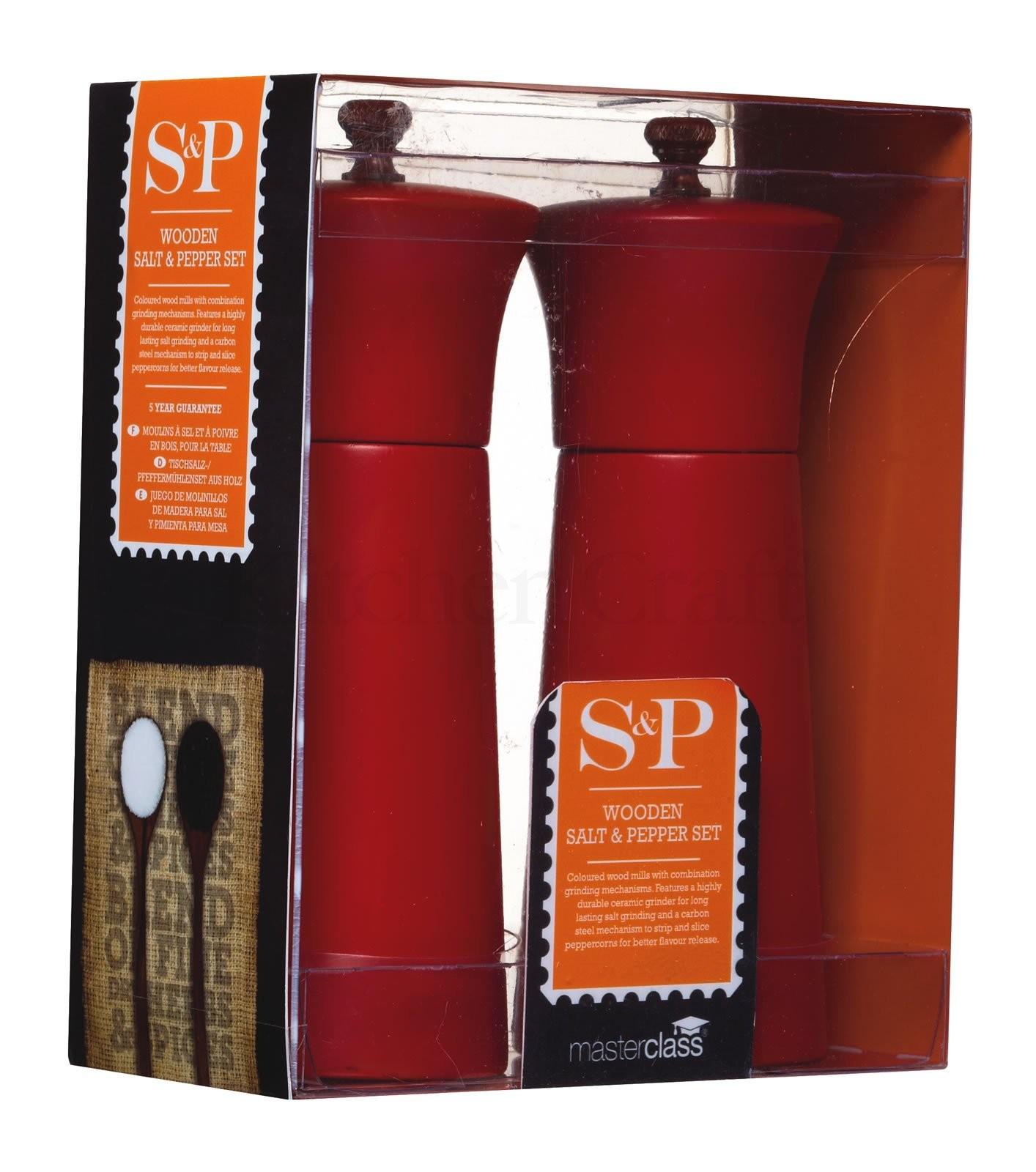 μύλοι σετ αλάτι και πιπέρι masterclass ξύλινοι κόκκινοι 17cm home   αξεσουαρ κουζινας   μύλοι αλατοπίπερου