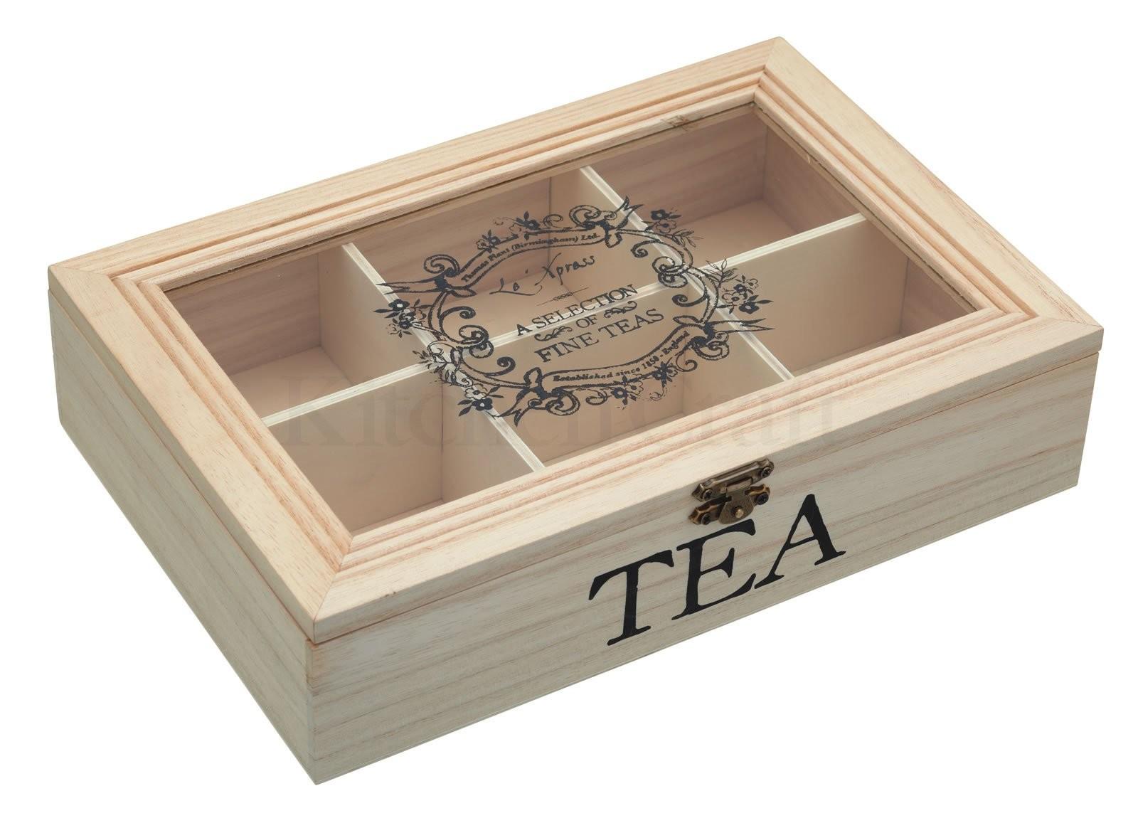 κουτί αποθύκευσης ξύλινο kitchencraft home   ειδη cafe τσαϊ   δοχεία καφε   ζάχαρης
